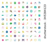 christmas 100 icons new year... | Shutterstock .eps vector #345284123