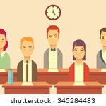 group of students taking an... | Shutterstock .eps vector #345284483