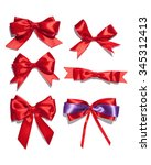 set of six red ribbon satin... | Shutterstock . vector #345312413