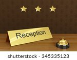 hotel reception with bell ring. ... | Shutterstock . vector #345335123