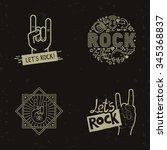 vector set of rock and roll... | Shutterstock .eps vector #345368837