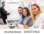 view of a boss heading a... | Shutterstock . vector #345371963