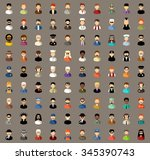 set of flat icons set with men. ... | Shutterstock .eps vector #345390743