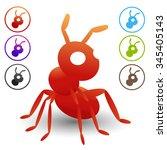 vector red ants symbols logo ... | Shutterstock .eps vector #345405143