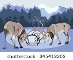 two battling deer in the... | Shutterstock .eps vector #345413303