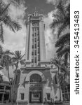 Small photo of Honolulu, Hawaii, USA, Nov. 30, 2015: Morning view of sunlight on the new reopened Aloha Tower at Honolulu Harbor. The Aloha Tower is a famous landmark and the gateway to Honolulu Harbor.
