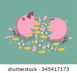Broken Pink Piggy Bank With...