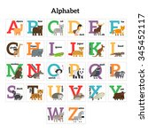 english animals zoo alphabet.... | Shutterstock .eps vector #345452117