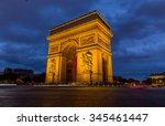 paris arc de triomphe at night  ...   Shutterstock . vector #345461447