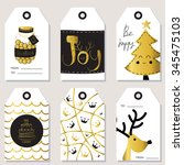 light gold christmas tag with... | Shutterstock .eps vector #345475103