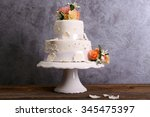 White Wedding Cake Decorated...
