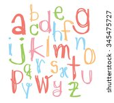 black colorful alphabet... | Shutterstock .eps vector #345475727