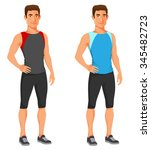 young fit guy in sport outwear | Shutterstock .eps vector #345482723