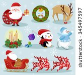 christmas and new year holiday... | Shutterstock .eps vector #345497597