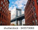 manhattan bridge seen from... | Shutterstock . vector #345573083