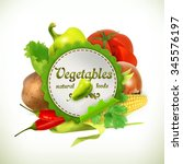 vegetables  vector label | Shutterstock .eps vector #345576197