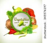 vegetables  vector label | Shutterstock .eps vector #345576197