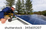 solar panel technician with... | Shutterstock . vector #345605207
