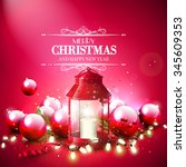 christmas red greeting card... | Shutterstock .eps vector #345609353