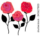 Set Of Linear Retro Roses...