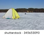winter tent on the ice | Shutterstock . vector #345653093
