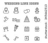 wedding line icons  mono vector ... | Shutterstock .eps vector #345662513
