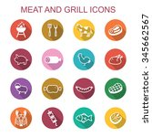 meat and grill ong shadow icons ... | Shutterstock .eps vector #345662567