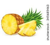 ripe pineapple with slices... | Shutterstock .eps vector #345685463
