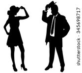 silhouette of the lady and... | Shutterstock .eps vector #345698717