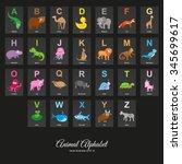 animal english alphabet ... | Shutterstock .eps vector #345699617