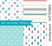 set of seamless christmas... | Shutterstock .eps vector #345705803