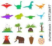 dinosaurs and prehistoric... | Shutterstock .eps vector #345718697