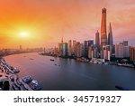 Night Shanghai Skyline With...