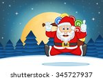 santa claus with star  sky and... | Shutterstock .eps vector #345727937