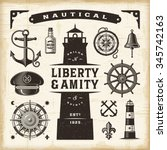 vintage nautical set | Shutterstock . vector #345742163