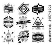 set of black flat  lane hipster ... | Shutterstock .eps vector #345749303