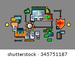 modern flat bold line design ... | Shutterstock .eps vector #345751187