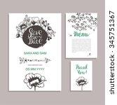 vector set of invitation cards... | Shutterstock .eps vector #345751367