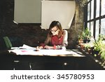 architecture woman working blue ... | Shutterstock . vector #345780953