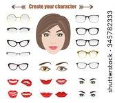 glasses isolated on white... | Shutterstock .eps vector #345782333
