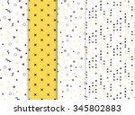 Set of 4 seamless patterns in yellow colors with geometric elements. Pattern in hipster style. Pattern is suitable for posters, postcards, fabric or wrapping paper | Shutterstock vector #345802883
