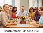 friends at home sitting around...   Shutterstock . vector #345816713