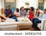 group of friends relaxing at... | Shutterstock . vector #345816743