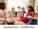 group of female friends meeting ... | Shutterstock . vector #345831953