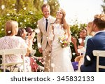 guests throwing confetti over... | Shutterstock . vector #345832133