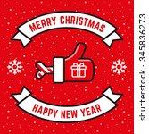 vector merry christmas thumbs... | Shutterstock .eps vector #345836273
