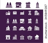 buildings  houses  icons  signs ... | Shutterstock .eps vector #345849287