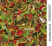 cartoon vector doodles hand... | Shutterstock .eps vector #345854207