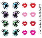 kawaii cute eyes and lips icons ...