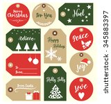 set of christmas gift tags with ... | Shutterstock .eps vector #345883397